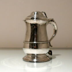 18th Century Antique George Ii Sterling Silver Tankard And Cover London 1756 R Cox