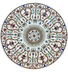 42 X 42 Marble Pietra Dura Center / Dining Table Top Floral Inlay Work