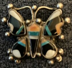 Superb Zuni Tony Anthony And Rita Edaakie Mosaic Inlay Butterfly Pin 1940s-1950s