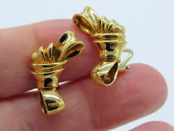 Tiffany & Co Rare Vintage 1988 Large 18k Yellow Gold Ribbon Bow Clip On Earrings