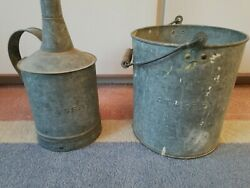 Antique Santa Fe A.t. And S. F. Railroad Oil Can And Bucket.
