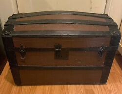 Antique Small Steamer Trunk Wood Metal Leather Geo. Bains And Sons, Philadelphia