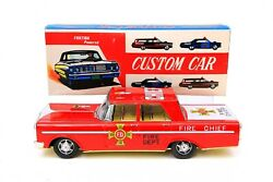 Vintage Japan Large 15 Friction Powered Custom Car Fire Chief Tin Toy Car And Box