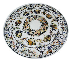 48 X 48 Round White Marble Dining Table Tops Inlay Handmade Art For Home Decor