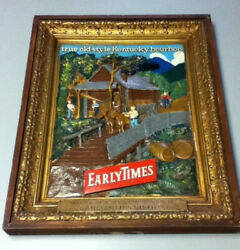 Early Times Whiskey Bourbon Bar Sign Chalkware Wall Framed Chalk Vintage Old 1