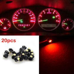 20Pcs Red T4.7 Neo Wedge LED Bulb Dash Climate Control Instrument Base Light