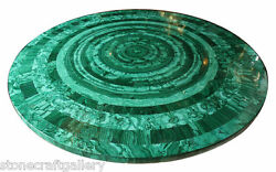 30 Marble Round Malachite Table Top Inlay Handmade Work For Home And Garden