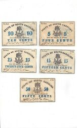 1862 Bank Of The State Of Sc Lot Of 5 Notes 510152550 Cent Notes Gold Back