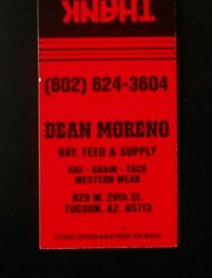 1980s Dean Moreno Hay Feed And Supply Grain Tack Western Wear 29th St. Tucson Az