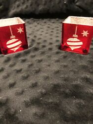Yankee Red Holiday Square Candle Holders