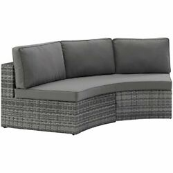 Crosley Catalina Wicker Curved Patio Sectional Sofa In Gray