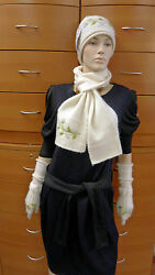 HAT SCARF GLOVES SET MERINO WOOL KNITTED MADE IN EUROPE OFF-WHITE GIFT FOR WOMEN