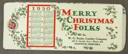1930 Merry Christmas Pauley Lumber Hastings Ne Celluloid Ink Blotter Pad Wb