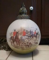 Vintage Antique Fox Hunt Painted Pendant Light Green And Red White Swag Lamp