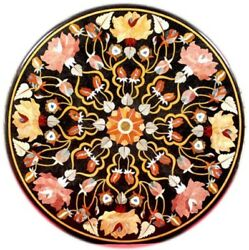 42 Black Round Marble Pietra Dura Table Top Inlay Handcrafted Work