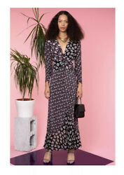 RIXO Chelsea – Black Micro Bunch Floral Midi Dress With Slit Size Small £335