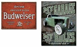 Two Vintage Style Tin Signs -garage Rules And Budweiser - Shop, Man Cave, Garage