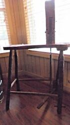 Antique Horse Saddle Makers Work Bench Stool Vice Tool Harness Tack Cobbler