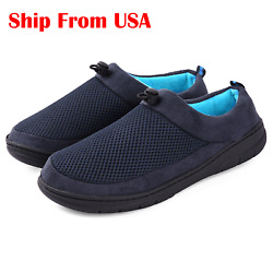 Men's Comfort Slippers Memory Foam Adjustable Breathable House Shoes