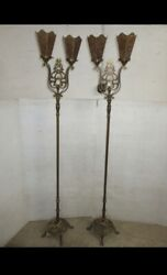Awesome Pair Antique 1910 Floor Lamps Gothic Art Deco Hammered Brass Mica Shades