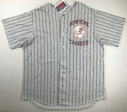 Vintage 90s New York Yankees Off The Bench Striped Jersey Men Xl New Made In Usa