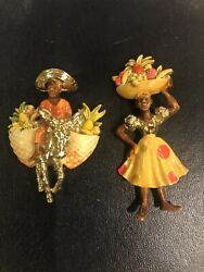Vintage 1940 Enamel Figural Woman And Man Fruit Sellers Brooches Pins