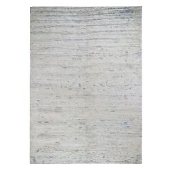 9'x12' Pure Silk With Textured Wool Fluffy Collection Hand Knotted Rug G48352