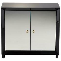 Wood And Mirrored Glass 2 Door Cabinet Modern Chic