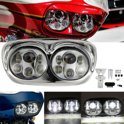 Motorcycle Dual Led Headlight Fit For Harley Road Glide 2004-2010 2011 2012 2013