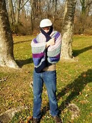 Hand Made Cocoon Cardigan Sweater In Pastel Stripes
