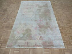 6and0391 X 9and0393 Hand Knotted Fine Modern Abstract Pink Oriental Rug With Silk G8447