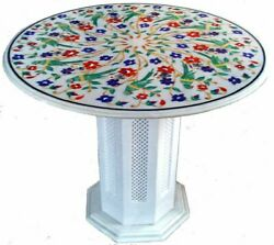 36 Round Marble Table Floral Inlay Semi Precious Stones With Marble Stand