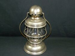 Antique Post And Co. Railroad Conductors Nickel Plated Brass Lantern Very Good