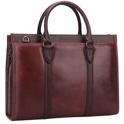 Banuce Vintage Full Grain Oil-Waxed Leather Briefcase for Men Women Shoulder ...