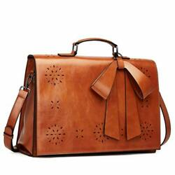 CLUCI Briefcase for Women Oil Wax Leather 14 Inch Laptop Large Ladies Vintage...
