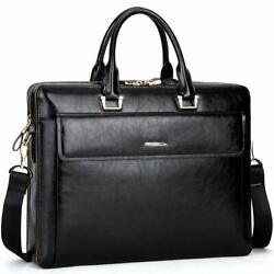 CLUCI Women Oil Wax Leather Briefcases Slim Large Business 15.6