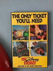 Rare Disney Four Great Parks Plus More All In 1ticket Promotional Ad Sign Prop