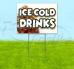 Ice Cold Drinks 18x24 Yard Sign With Stake Corrugated Bandit Usa Business Soda