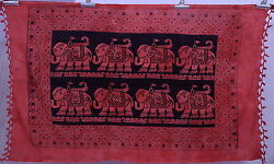 Indian Elephant Print Red amp; Black Tapestry Twin Wall Hanging Cotton Throw Decor