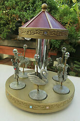 Vtg Collectible Spoontiques 6 Pc Pewter Crystal Figurines And 8 1/2 Carousel Mint