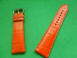 0 7 8in strap Alligator Real Orange Stitched Hand Made 0 23 32in With The Loop