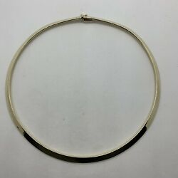 Italy 14k Yellow Gold 6mm Wide Omega Necklace 39g Cool Tribal Look Shiny Collar