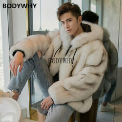 2019 Autumn And Winter New Fox Fur Coat Male Hooded Leather Fur One Tide