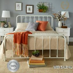 Metal Bed Frame Queen Farmhouse White Iron Vintage Rustic Modern Country Style