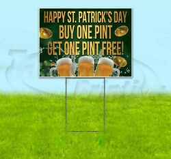 Happy St. Patrick's Day 18x24 Yard Sign With Stake Corrugated Bandit Business