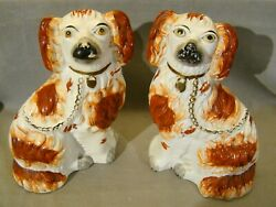 Pair Antique Staffordshire Dogs Figurines 9 3/4 Red-brown Dog Figures 19th C