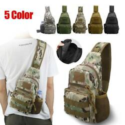 Men Backpack Molle Tactical Sling Chest Pack Shoulder Bag Outdoor Hiking Travel $13.97