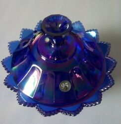 Fenton Cobalt Carnival/iridescent Glass Candy Dish And Lid 95th Anniversary