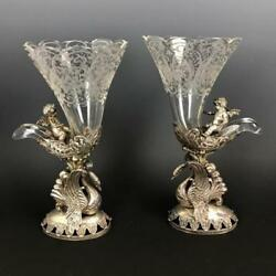 19th C. Pair Of German Silver And Etched Glass Cornocopia.