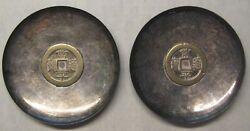 Lot Of 2 Chinese Silver Coin Dishes/bowls Kim Jong Pil Take A Look